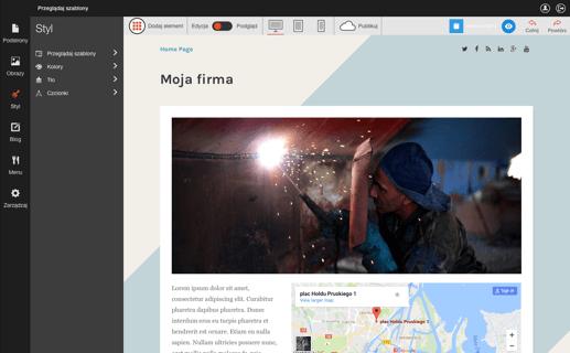 Kreator stron w AZ.pl działa na zasadzie drag&drop - jest łatwy w obsłudze i od razu przystosowuje stronę do urządzeń mobilnych