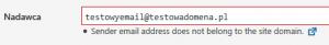 Przykład błędnego adresu email, który wprowadzono do Contact Form 7 - wiadomości nie zostaną wysłane.